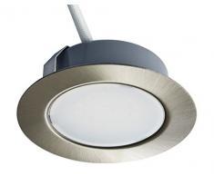 Trango Conjunto de 4 - 12 voltios AC/DC Foco empotrable LED, luminaria empotrada, luz de techo TGG4E-042 níquel mate para reemplazar luces de muebles convencionales G4 luces de campana de cocina, etc.