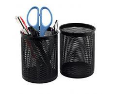 lumanuby 2 pieza Multi Función redondas Hollow metal portalápices para estudiantes lápiz Organizador Stationery – Contenedor lápiz soporte Mini papel cesta organizador de escritorio para oficina Cocina Escuela tomar Room, color negro