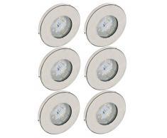 Trango 6 conjunto Focos empotrables LED IP44, iluminación empotrada TG6729IP-062B luz de baño, lámpara de techo, focos de techo, níquel mate, 6x iluminador LED 3000 K blanco cálido acero inoxidable