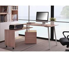 SixBros. Mesa de ordenador roble/blanco - CT-3556/2141
