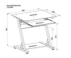 SixBros. Mesa de ordenador Vidrio lustre negro - CT-3312D/1131