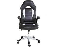 TecTake Silla de escritorio de oficina, Racing, color negro