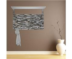 Perchero blanco con repisa trasera y diseño: diseño de pared de piedra