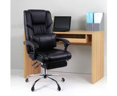 Songmics Racing Silla de escritorio computadora oficina Ergonómica con reposapiés plegable PU Metal cromado Negro 150 kg OBG71B