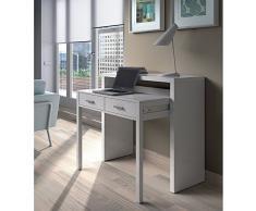 Habitdesign 004582BO - Mesa de Escritorio Extensible, Mesa Estudio Consola, Medidas: 98,5 x 87,5 x 36-70 cm de Fondo (Blanco Artik)