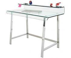 Mesa escritorio cristal y acero inoxidable, medidas: 115 x 56 cm