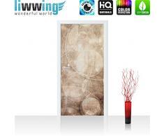 Liwwing - Papel pintado para puerta de fieltro de 100 x 211 cm con diseño de papel pintado adhesivo para puerta de la decoración de imagen de la xxl póster para puerta de diseño abstracto de la burbuja de jabón de colour - no, 193, beige