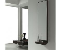 Dfierro Axa Consola con Espejo sin cajón, Madera, Negro, 40.0x20.0x140.0 cm
