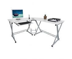 Harima - Mesa Esquinera para Ordenador Mueble Torre Escritorio Oficina Bixby Profesional en color Blanco con estante extraíble para el teclado Inicio PC de escritorio