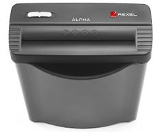 Rexel Alpha 2102020 - Destructora de corte en tiras para casa u oficina pequeña, papelera de 10 l, color negro