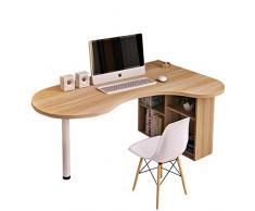 HEMFV Escritorio de la esquina del escritorio del ordenador, oficina de la esquina redonda turística, en forma de L Inicio Gaming escritura estación de trabajo PC escritorio de la tabla, ahorro de esp
