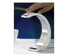 Lámpara led de mesa de Lunartec:Lámpara de mesa «Silver Moon» con luces led de 5 V, lámpara de diseño con interruptor de sensor (Lámpara led para mesilla de noche)