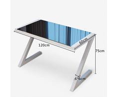 Xilinshop-Mesas para ordenador Escritorio de Escritorio de computadora portátil de Vidrio Templado con Forma de Z Escritorio Simple (tamaño : 120 * 60)