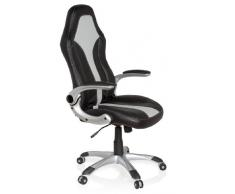 hjh OFFICE 621780 silla gaming RACER 400 piel sintética negro plateado reposabrazos plegables