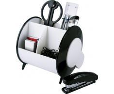 Idena 353151 - Organizador con accesorios de oficina (10 piezas: tijeras, regla, cúter, grapadora, grapas, goma, clips, portaminas y bolígrafo), color blanco y negro