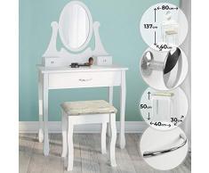 NOVA Mesa de Maquillaje - con Espejo, Taburete, cajón, 80 x 40 x 137 cm, Blanco y Negro - cómoda cosmética, Espejo, Mueble de Maquillaje, tocador con Taburete