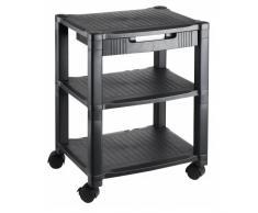 hjh OFFICE 721081 mesa auxiliar para impresora ALTURA HIGH plástico negro con cajón y ruedas
