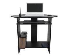 Harima - Mesa Esquinera para Ordenador Mueble Torre Escritorio Oficina Donghai Profesional en color Negro con estante extraíble para el teclado Inicio PC de escritorio