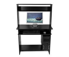 Harima - Mesa Esquinera para Ordenador Mueble Torre Escritorio Oficina Rialto Profesional en color Negro con estante extraíble para el teclado Inicio PC de escritorio
