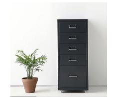 IKAYAA Archivador Cajonera de Metal Mueble para Oficina Taquilla con 5 Cajones 4 Ruedas Gris Oscuro