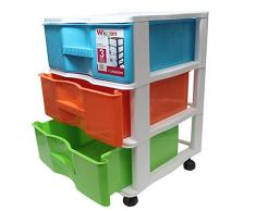 Acan Cajonera Wagon 3 cajones Multicolores con 4 Ruedas 52.5 x 38 x 39 cm
