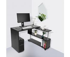 GOTOTOP 360 Grados Giratorio Ajustable Escritorio de Esquina para Computadora con Estantes de Libros Mesa para Ordenador Portátil en Forma L (Negro)