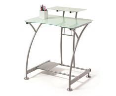 Mesa escritorio ordenador Davinci , cristal blanco y estructura metálica , medidas 70x58x89 de altura