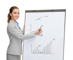 TecTake Pizarra Rotafolios a Oficina Whiteboard magnética blanca ajustable de altura 65 x 95 cm + 12