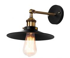 Maxmer Luz Vintage Apliques de Pared Lámpara Industrial Lámpara de Pared Material Metal, Casquillo E27, Color Negro