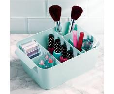 InterDesign Clarity organizador maquillaje con asas   Caja almacenaje con 8 compartimentos para maquillaje y accesorios   Ideal para accesorios de baño   Plástico menta
