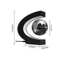 Moderno C Creativo Forma Lámparas de Mesa Levitación magnética Globo Flotante Mapa del Mundo con luz LED de Colores for la decoración del Escritorio, Negro, lámparas de Escritorio Oficina