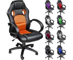 TecTake Silla de escritorio de oficina, Racing - disponible en diferentes colores (Naranja)