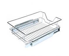Organizador de armario enrollable, apilable, para debajo del fregadero, con cesta deslizante, cajón para cocina y baño, cromado 600mm/20.3 * 17.3 *5.3