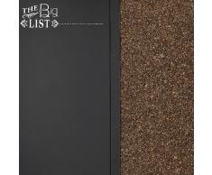 Navaris Tablero para notas de corcho y pizarra - tablero combinado de pared de 60x40 cm - con lámina magnética - tiza chinchetas y soporte incluidos