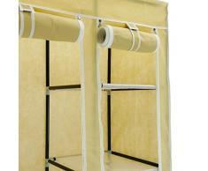 Armario ropero guardarropa de tela desmontable 110 x 45 x 175 cm beige doble con puertas enrollables