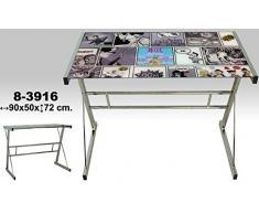DonRegaloWeb - Escritorio - Mesa de metal y cristal con comics y 5mm de grosor decorada en color cromado y otros