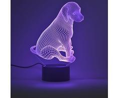 Lámpara Ilusión óptica de 3D Lámpara de noche LED Mesa Lámparas de escritorio del tacto LED de 7 colores Cambio de Cargador USB accionado el interruptor del tacto luz de la noche para los niños regalo de los amigos(Perrito)