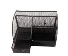 PIXNOR - Organizador Contenedor de papelería de malla portalápices para escritorio de la oficina (Negro)