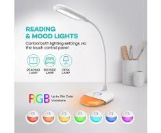 Lámpara Lectura LED TaoTronics Flexo Escritorio Oficina Luces Nocturna 6W (Base de colores LED, Promesa de oscurecimiento, duración 2,5h a 6h, Control táctil) Portátil, Blanco