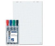 Faxland - Hojas para rotafolio, 20 páginas de 69 x 99 cm, 5 paquetes, 6 orificios en la parte superior, color blanco, 5 Flipchartblöcke + 4er Marker, cuadros, 1