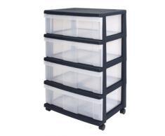 Cajón con ruedas de plástico, en el pecho de 4 cajones, contenedores Negro, Dresser 4 cajones, Armedietto con ruedas, armario de plástico gaveta de almacenamiento - WC-N604P