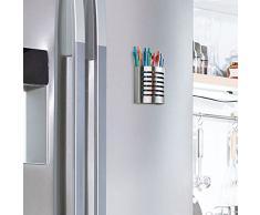iDesign Organizador de escritorio con imán, portalápices magnético de acero para la nevera, vaso con imán para lápices y otros utensilios, plateado mate