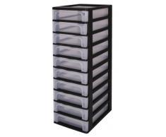 Cajón sin ruedas cajones de plástico con 10 cajones, contenedores negros, cajones 10, Armedietto sin ruedas, armario de plástico gaveta de almacenamiento - OCH-2100