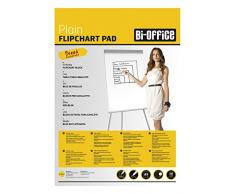 Bi-Office Bloque de papel para Pizarra Rotafolios, A1, Blanco, 20 Hojas por Bloque, con perforación, 70 g/m², Paquete de 5 Bloques