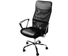 Silla de oficina ejecutiva con ruedas silla de escritorio giratoria en color negro Silla con Respaldo Transpirable - 64 cm x 121 cm (LxH), superficie de asiento: 49 cm x 50 cm (lxp) Piel Sintética/algodón