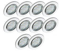 Trango Juego de 10 Luz empotrada LED cromo redondo TG6729-108GU5SD con bombillas LED regulables de 3 pasos 3000K blanco cálido, luces empotradas, focos de techo, focos empotrados, luz de techo