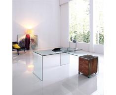 Conjunto escritorio oficina + mesa ala de cristal transparente