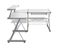 Anself - Mesa De Esquina De Ordenador Con Bandeja De Teclado Extraíble,L-Forma,Color Blanco