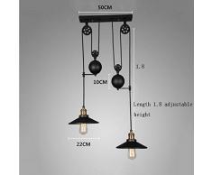 Lámparas industriales creativas, viento industrial de la vendimia Arte de la polea retractable de la barra de la barra de la elevación del escritorio de la barra de las lentes de cristal (excepto fuente de luz) , 2 head