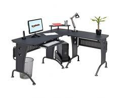 Gran mesa escritorio de esquina con bandeja de teclado y carretilla de CPU para la Oficina en Casa Negro Grafito PC 21g